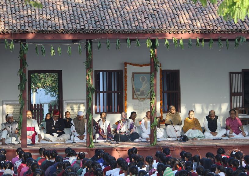 Prayer at Sabarmati Ashram